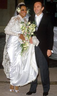 Diana Ross and Arne Naess in their wedding